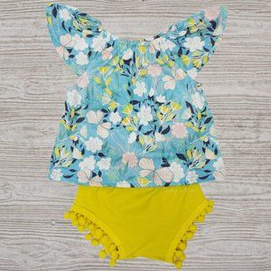 Mint Floral Yellow Pompom Bottoms Outfit Set
